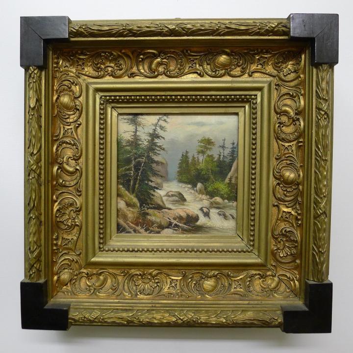 Biedermeier Öl Gemälde: Landschaft / Gebirgs-Bach, im breiten ...