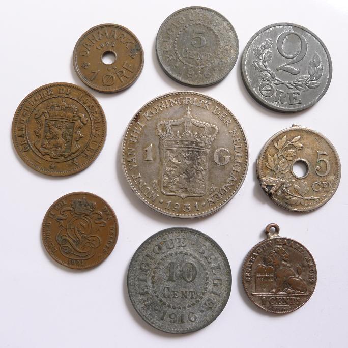 9 X Münzen Niederlande Luxembourg Dänemark Belgien 1 Gulden 1