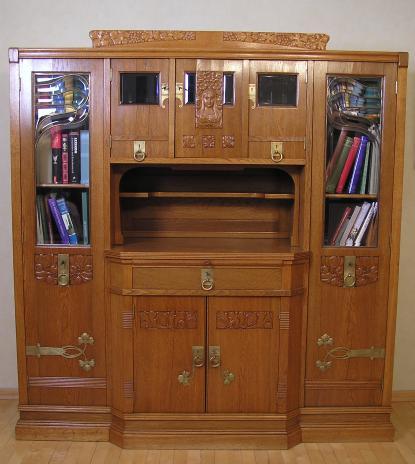 Bücherschrank Jugendstil In Eiche Fast Identischer Möbel Entwurf
