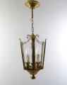 Jugendstil Deckenlampe / Flurleuchte, hexagonale Form, Messing