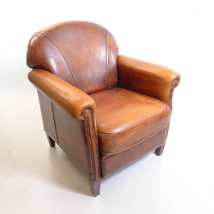 Art Deco Leder Sessel Fauteuil