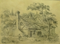 Foto 1: J. W. Fraser: Graphik - Radierung, Cottage Rusholme, datiert 1818, England